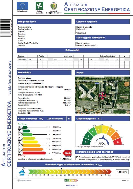Attestato di Certificazione Energetica -Certificato Energetico